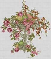 Наборы для алмазной мозаики с цветочной тематикой Розы в чаше 48х56см