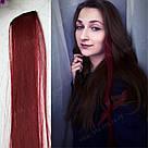 Волосы накладные на заколке, бургунд, фото 4
