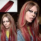 Волосы накладные на заколке, бургунд, фото 6