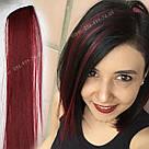 Цветные пряди на заколках бордовые, фото 5