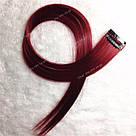 Цветные пряди на заколках бордовые, фото 9