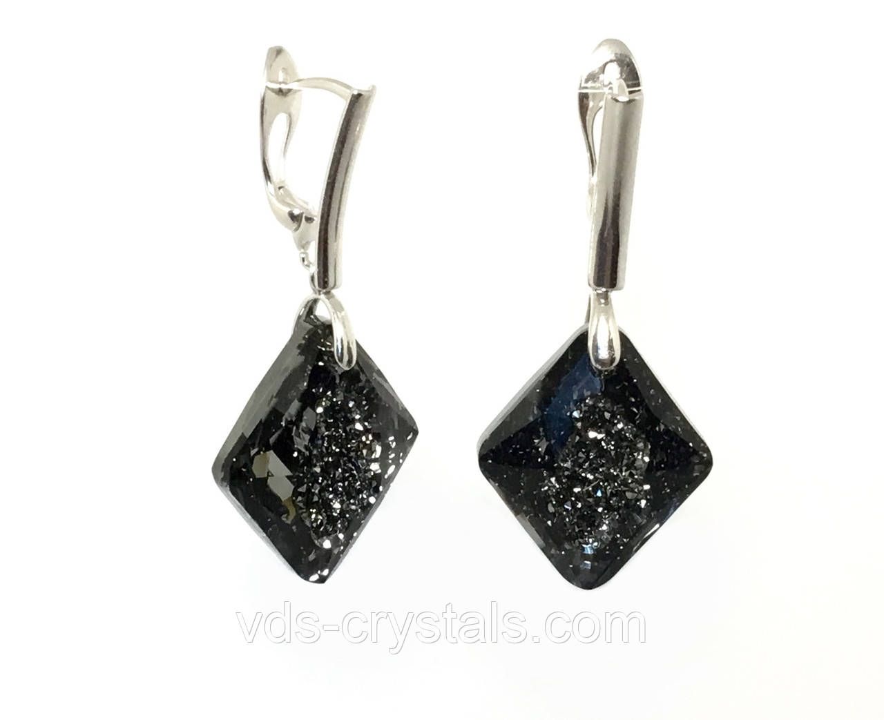 Серебряные серьги Swarovski Растущий кристалл 6926 Crystal Silver Night