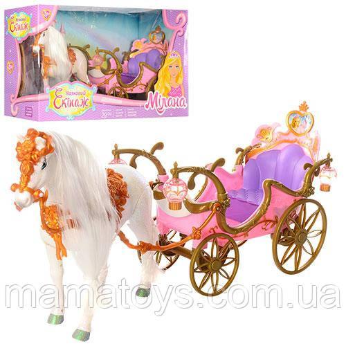 Кукольная Карета 209B Сказочный Экипаж Лошадь ходит 50 см  Свет, звук, от батареек