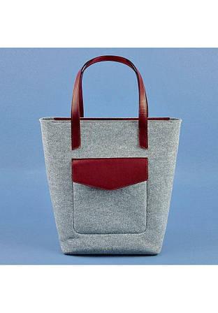 Фетрова сумка шоппер зі шкіряними вставками