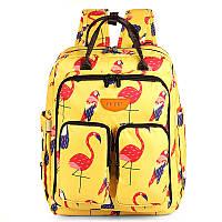 Сумка-рюкзак для мамы Попугай и фламинго