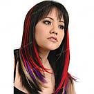 Искусственные пряди волос на заколках, сольферино, фото 7