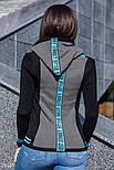 Трехцветная женская кофта с капюшоном, фото 3