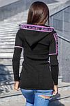 Теплая черно-сиреневая туника с капюшоном, фото 2