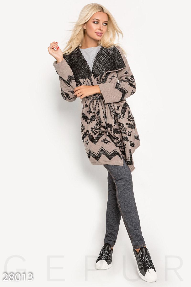 Женский бежево-черный кардиган с завязками