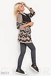 Женский бежево-черный кардиган с завязками, фото 2