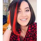 Пряди цветных искусственных волос на заколке, красные, фото 10