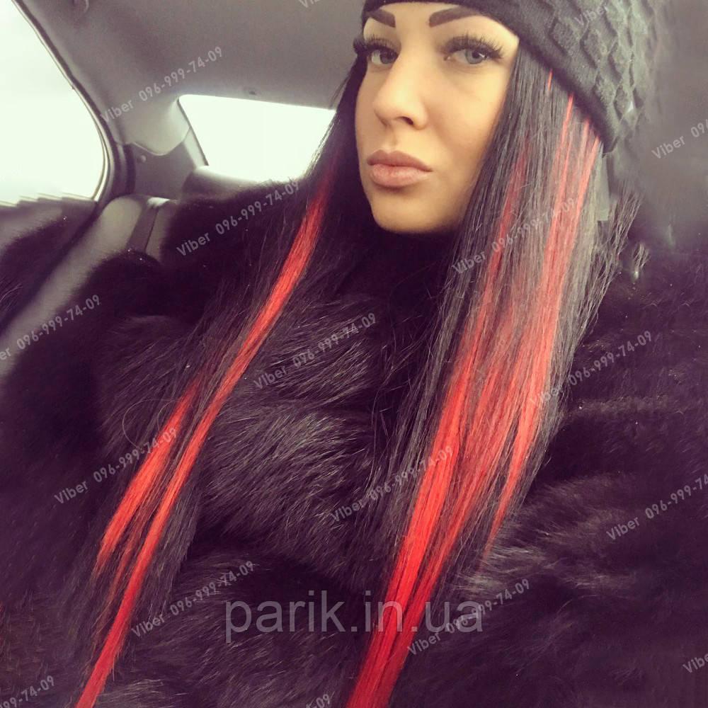 Пряди цветных искусственных волос на заколке, красные
