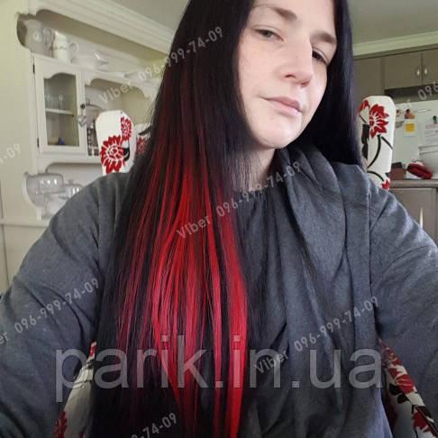 Цветные пряди на заколках для наращивания волос в домашних условиях, красные