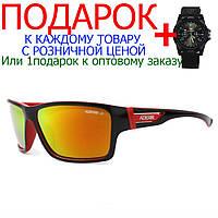 Защитные спортивные велосипедные очки от солнца Kdeam 717  Черный, красный декор и внутри, оранжевый