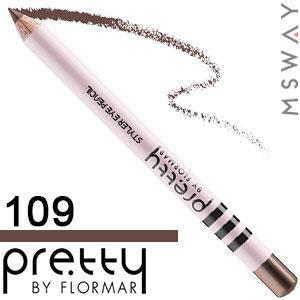 FlorMar PRETTY - Карандаш для глаз Тон 109 chocolate brown, молочный шоколад матовый, фото 2