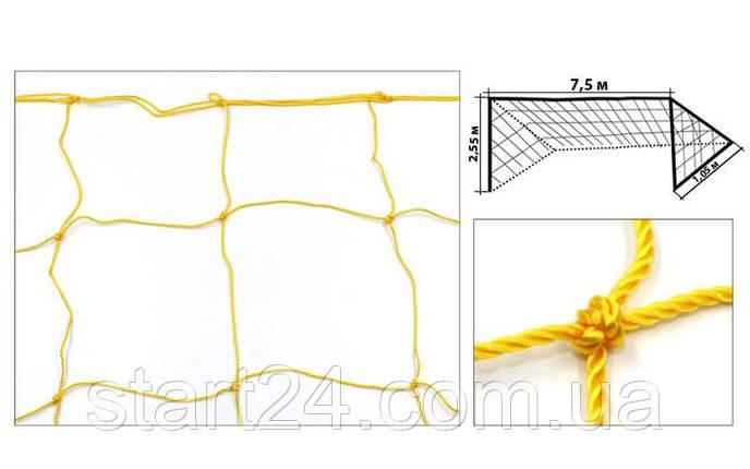 Сетка на ворота футбольные любительская узловая (2шт) Эконом-Диагональ UR SO-5293 (PP 2,5мм, 15см), фото 2
