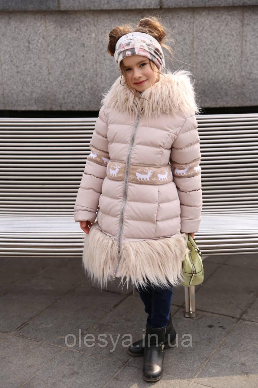 Пальто зимнее на девочку Лин ТМ Nui Very Размеры 116 - 158