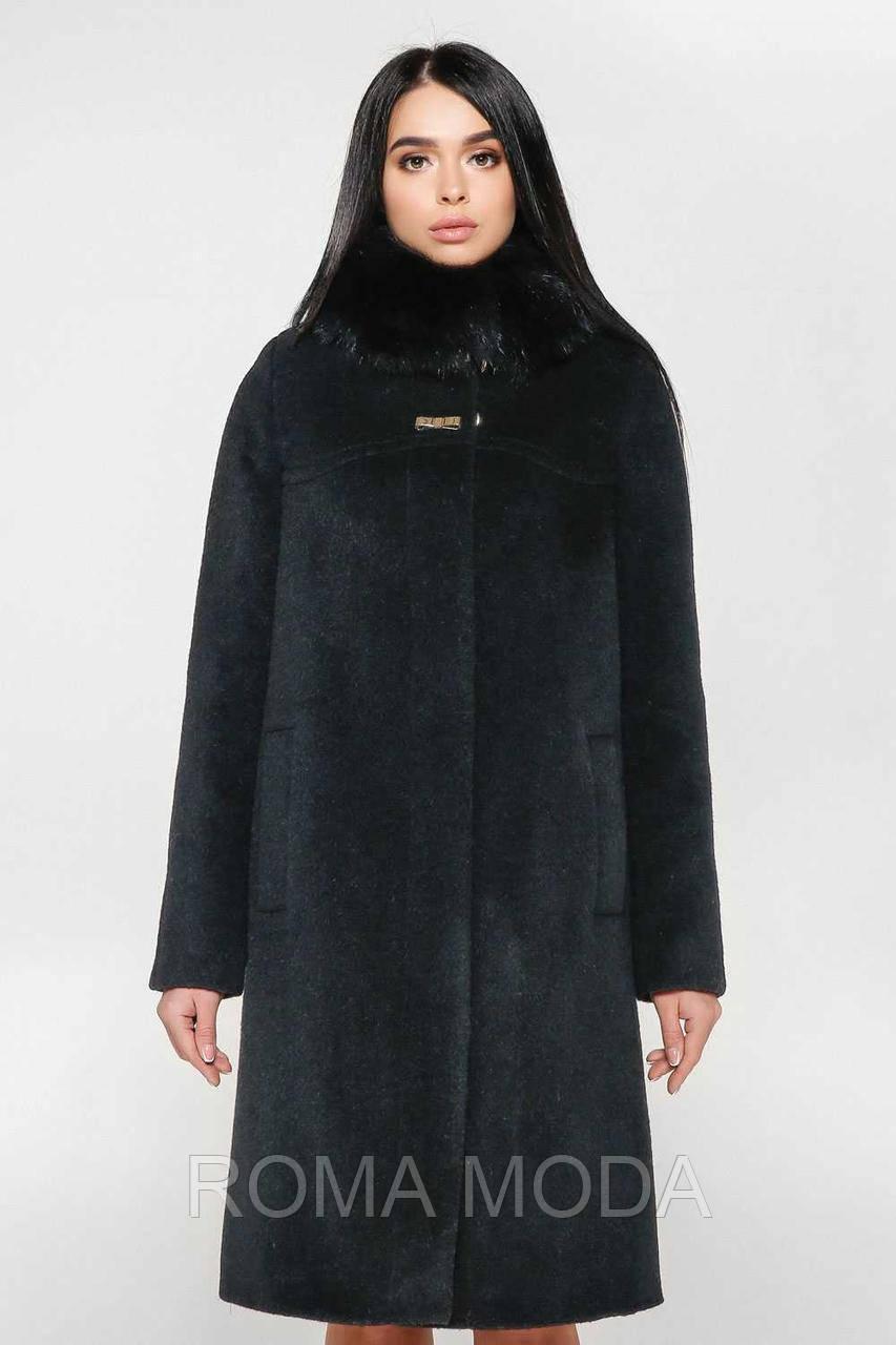 Шикарное пальто зимнее женское черное П-990 н/м Ande Pesante