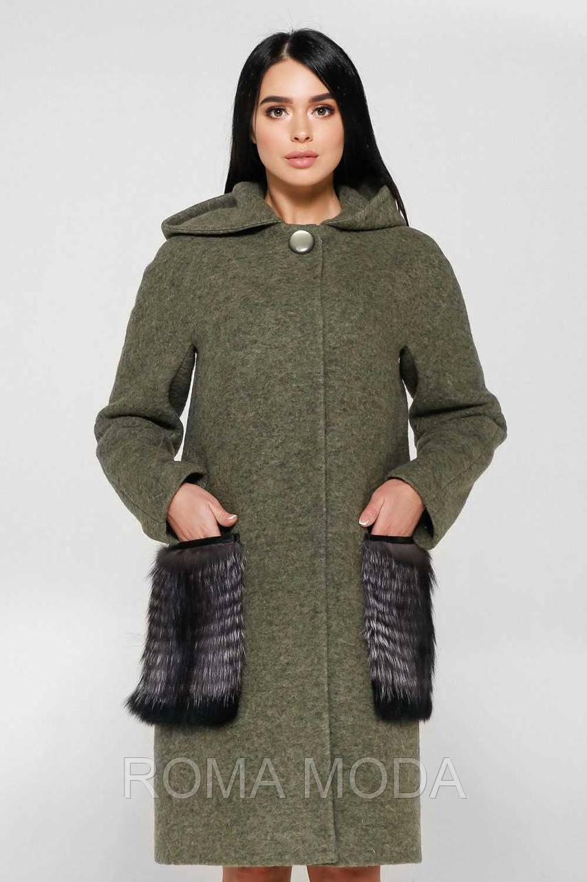 Пальто зимнее женское с мехом П-1001 н/м Cost