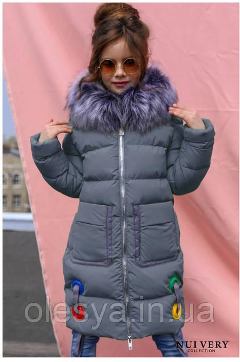Пальто детское Рейни ТМ Nui Very Размеры 116- 158 Темно голубой