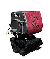 Отопительная конвекционная печь Rud Pyrotron Кантри 00 с варочной поверхностью (отапливаемая площадь 40 кв.м.  Обшивка декоративная (бордовая)