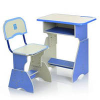 Парта HB-2029K-4 со стульчиком,рег.высота,столеш65,5-45,5см,подст.для ног,голубая