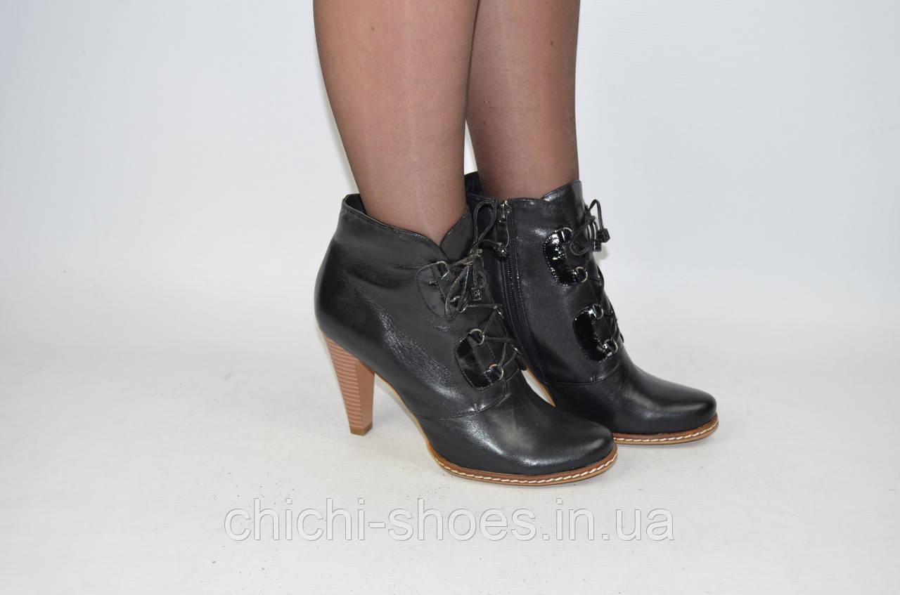 Ботильоны женские it Girl 2169 чёрные кожа каблук
