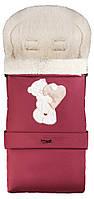 Зимний конверт Qvatro №20 с удлинением  бордо (мишка стоит с сердцем)