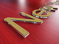 Акриловые буквы на стену из прозрачного оргстекла + двухслойный пластик, H=50мм (Толщина акрила : 3мм;  Цвет