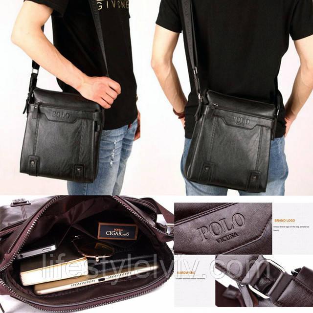 299823b90b50 Кожаная сумка очень практична, будет стильно выглядеть при любой одежде, а  благодаря своей квадратной форме – мужская сумка весьма удобна.