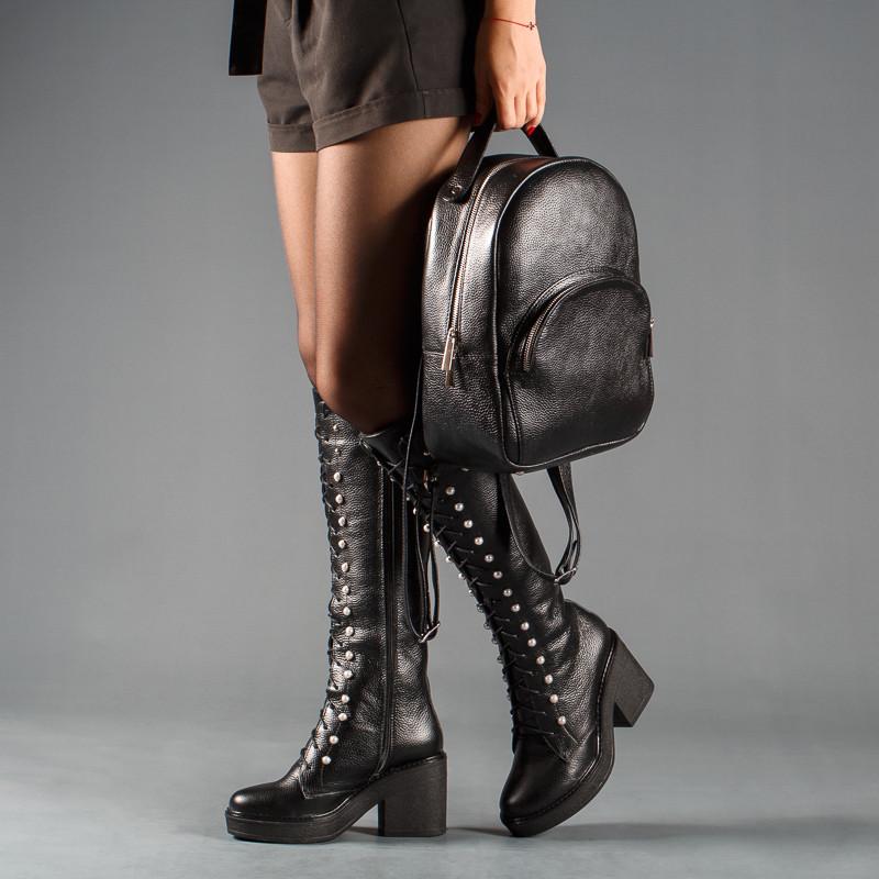 43e7cb09a Сапоги женские кожаные на платформе со шнуровкой до колена размеры 36-41 -  Интернет-