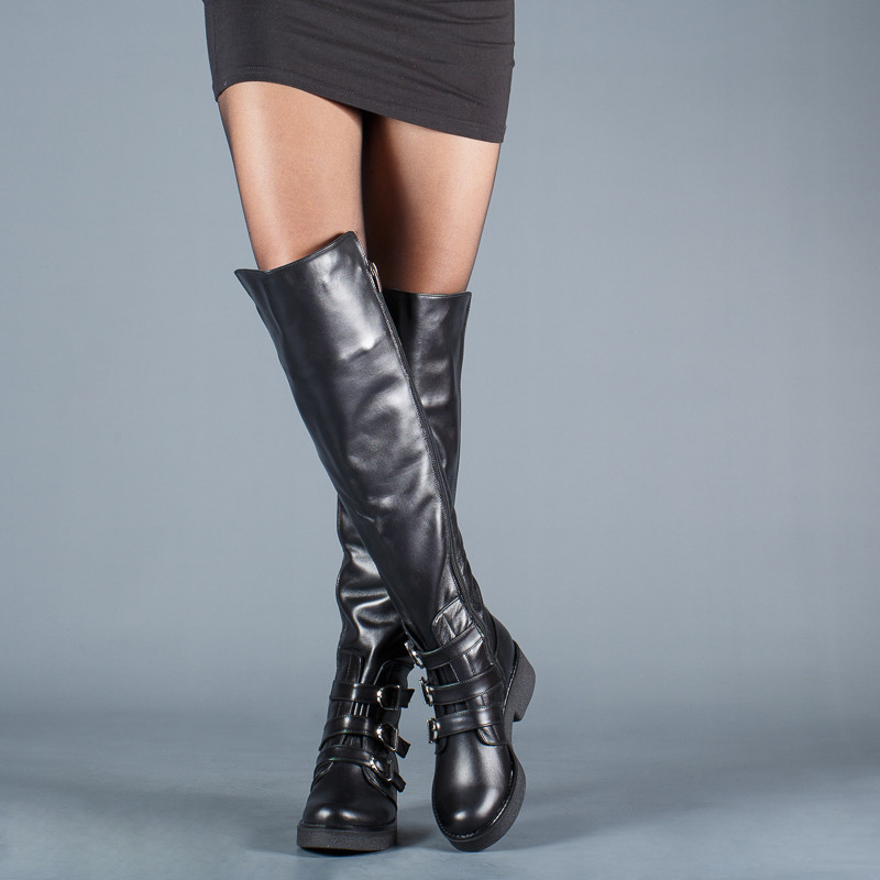 Модные высокие сапоги с пряжками на устойчивом каблуке размеры 36-41