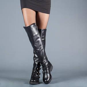 Модные высокие сапоги с пряжками на устойчивом каблуке размеры 36-41, фото 2