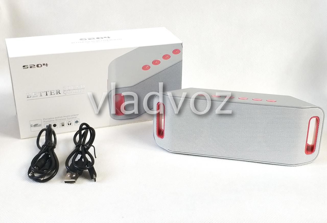 Портативная блютуз колонка акустика bluetooth для телефона мини с флешкой повербанк радио FM серая S204