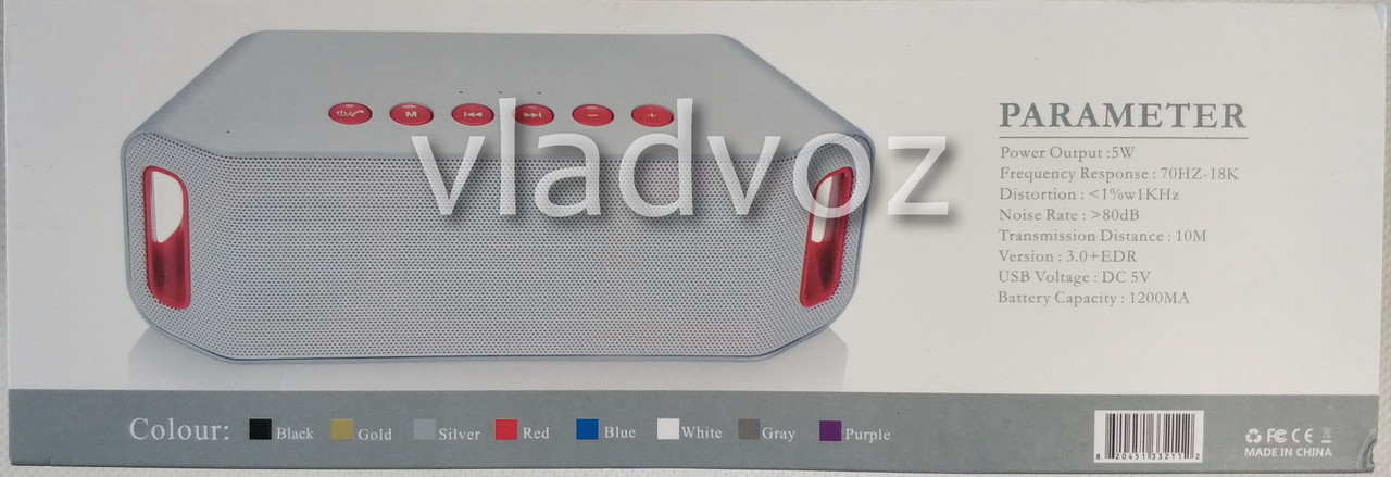 Портативная блютуз колонка акустика bluetooth для телефона мини с флешкой S204 вид в коробке