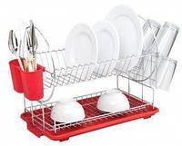 Двухъярусная сушилка для посуды СВ-853, 50х23,5х37 см