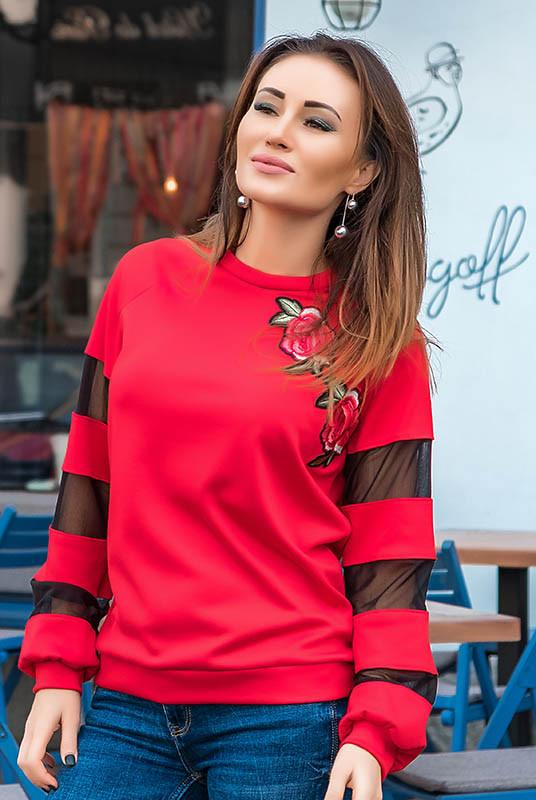 Красная кофта с цветком БРУКЛИН