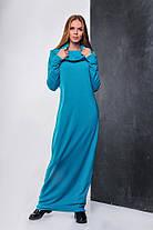 Теплое женское платье длины макси Терракотовое. Р-ры: 42-46. (111)08334. , фото 3