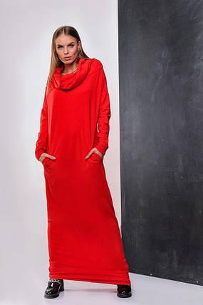 Теплое женское платье длины макси Терракотовое. Р-ры: 42-46. (111)08334. , фото 2