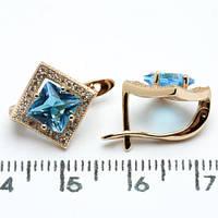 Серьги Xuping медзолото позолота 18К  ромб 1.3см голубой и белый цирконий с888