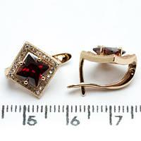 Серьги Xuping позолота 18К  ромб 1.3см с889