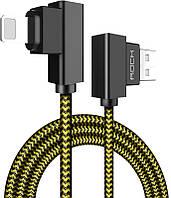 Кабель Rock Dual-end L-shape Lightning Data Cable 1M Yellow