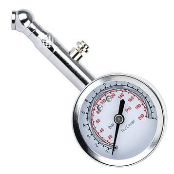 Вимірювач тиску в шинах стрілочний, металевий корпус, клапан скидання тиску INTERTOOL AT-1004