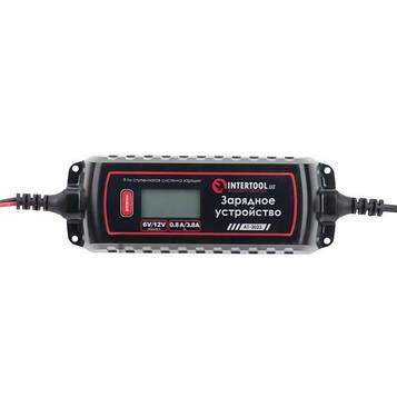 Зарядний пристрій 6/12В, 0.8/3.8 А, 230В, зимовий режим зарядки, дисплей, максимальна ємність акумулятора, що заряджається 1.2-120 а/год INTERTOOL AT-3023