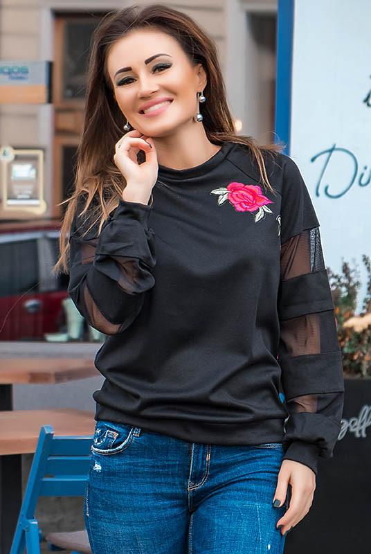 Черный джемпер с цветком БРУКЛИН