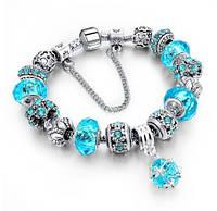 Женский браслет в стиле Pandora Пандора Шарм (реплика) Голубой, с доставкой по Киеву и Украине