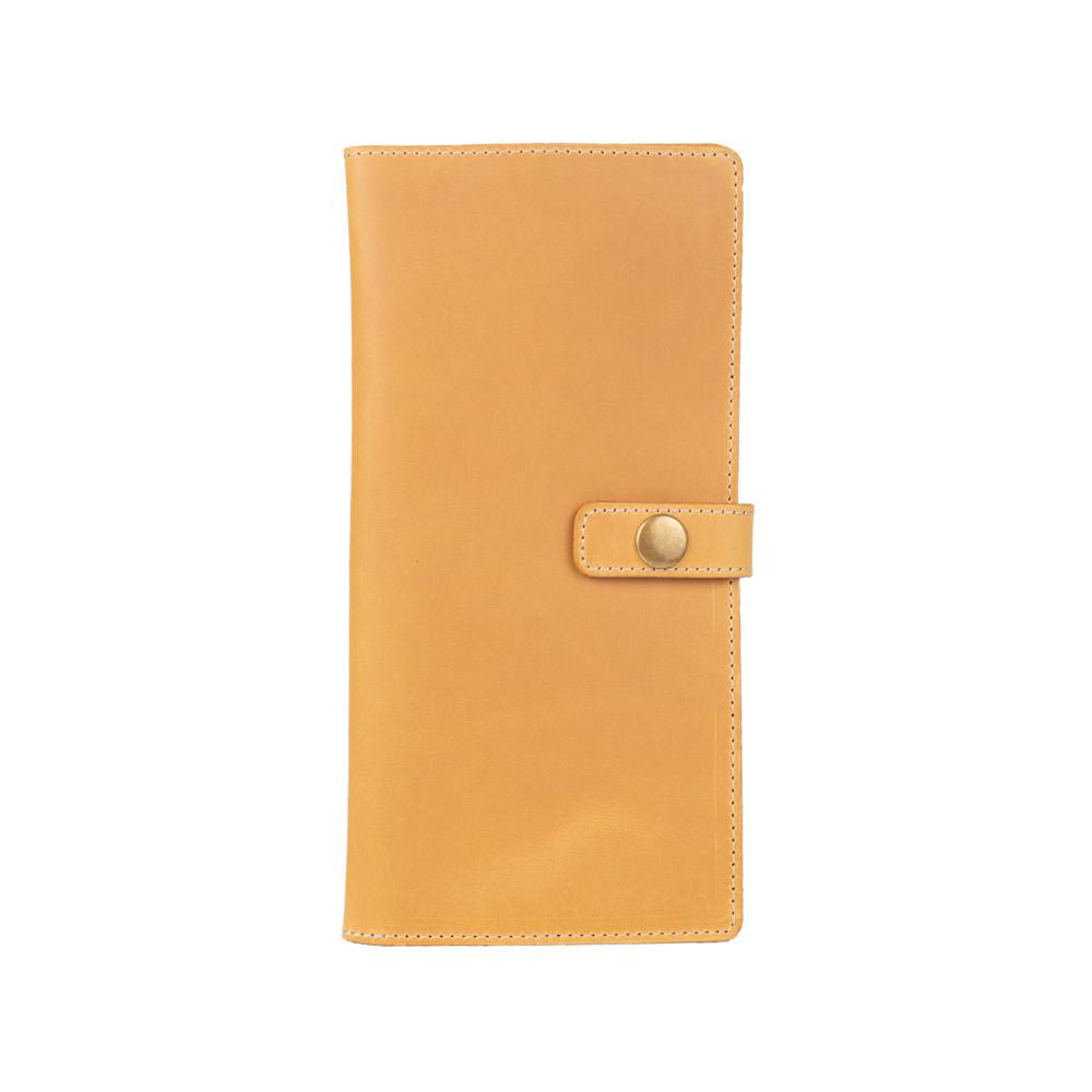 Эргономический кожаный тревел-кейс светло желтого цвета