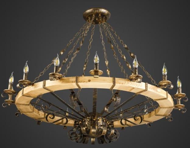 Люстра деревянная кантри колесо AR-004514 16 ламп D145см