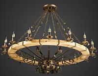 Люстра деревянная кантри колесо AR-004514 16 ламп D145см, фото 1