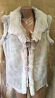 Безрукавка жіноча хутряна з натуральної шкіри розмір XL